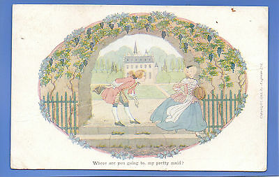 Vintage 1913 Augener Postcard Where Are You Going My Pretty Maid