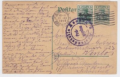 Belgium-1915 WW1 Aachen censored uprated PS postcard Brussel cover to Germany