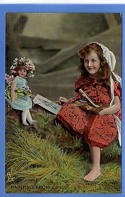 Old Vintage Tuck Postcard Young Girl Painting Picture Of Doll Lace Dress Hat
