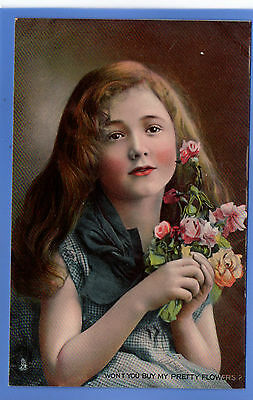 Old Vintage Tuck Postcard Young Girl Won't You Buy My Pretty Flowers Children
