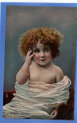 Old Vintage Tuck Postcard Young Girl Curly Hair Posing A Dainty Model Children