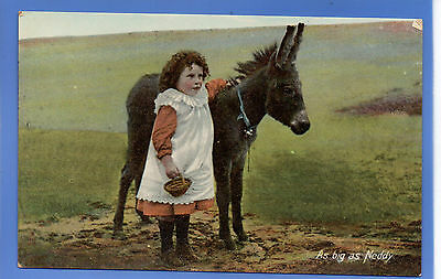 Old Vintage Tuck Postcard Pretty Young Girl With Donkey As Big As Ned Children