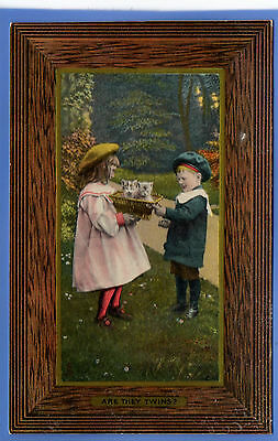 Old Vintage Tuck Postcard Young Girl & Boy With Kittens Are They Twins Children