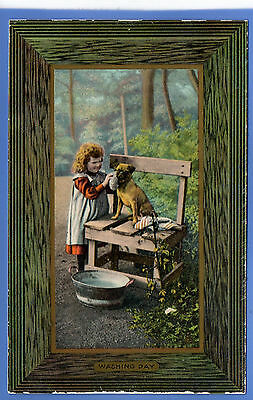 Old Vintage Tuck Postcard Young Girl Cleaning Dog Washing Day Children