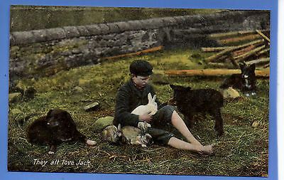 Old Vintage Tuck Postcard Young Boy With Rabbits Dog Lamb They All Love Jack