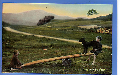 Old Vintage Tuck Postcard Young Boys On Seesaw With Dog Children