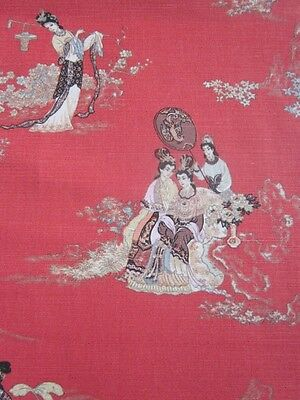 Chinoiserie Linen union antique archives superieur toile de jouy red fabric 45""