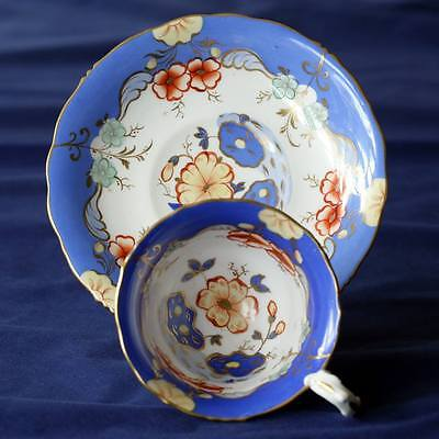 Samuel Alcock antique china tea cup and saucer c1835 sky blue - perfect gift
