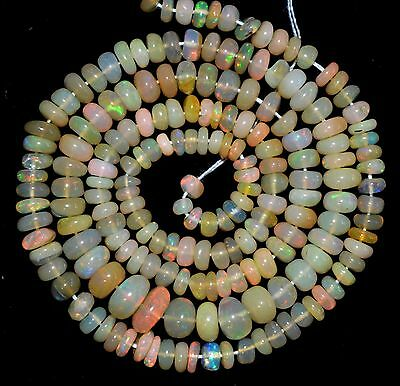 """33.60.Cts 15"""" 3-5 mm NATURAL ETHIOPIAN OPAL RONDELLE BEADS"""