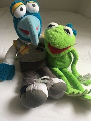 """DISNEY THE MUPPETS- Gonzo And Kermit Plushies 12"""""""