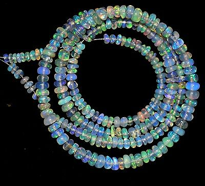 """19.70.Cts 15"""" 3-4 mm NATURAL ETHIOPIAN OPAL RONDELLE BEADS"""