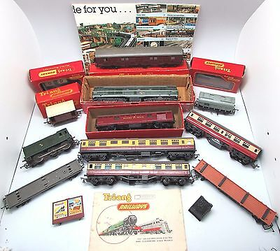 Vintage TRI-ANG / HORNBY 13 Pc Lot inc Locomotives / Coaches / Wagons Some BOXED