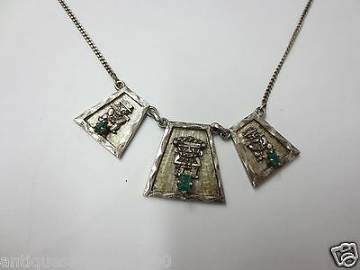 """Ethnic Themed Sterling Silver Necklace w/ Emeralds 15.5"""" length"""