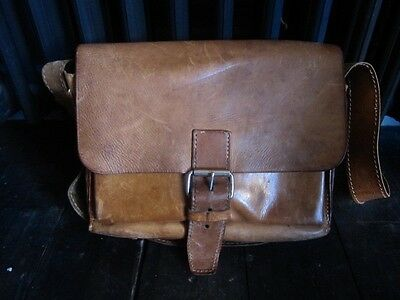Vintage very thick strong leather satchel shoulder bag great simple shape