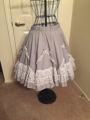 Vintage Jerri Bee Gray with  white lace square dance skirt
