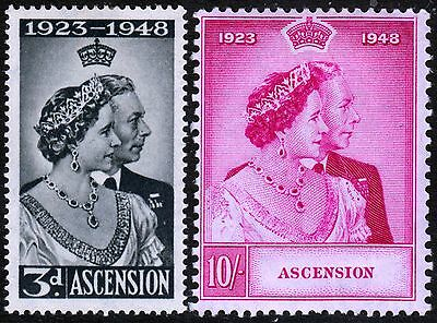 Ascension, Set Of 2, Silver Wedding, Sg50 - 51, Mounted Mint, 1948
