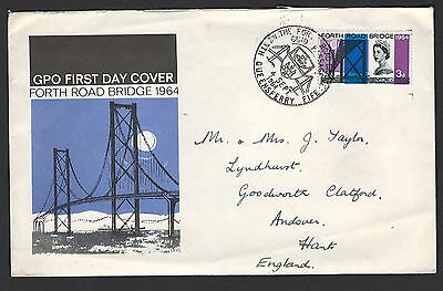 GB 1964 Forth Bridge 3d FDC with scarce North Queensferry special cancel, cover