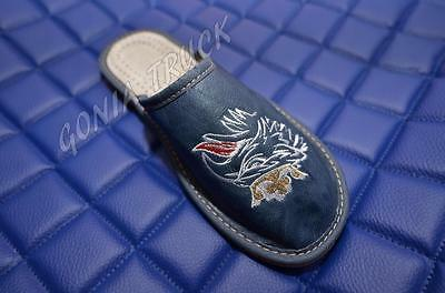"""~ 100% LEATHER ~ MENS SLIPPERS """" GRIFFIN """" navy blue"""