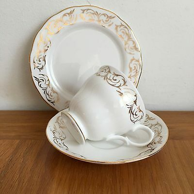 A Beautiful Vintage Bone China Trio By Queen Anne. White With Gold Trim-Vgc
