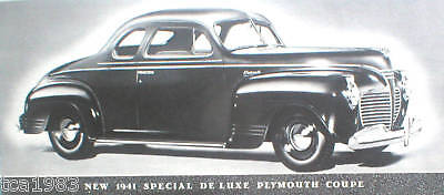 1941 PLYMOUTH Brochure:  SEDAN,COUPE,STATION WAGON,DeLUXE