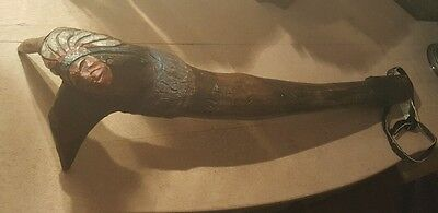 Antique native american abenaki root ball war club carved and painted