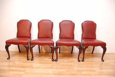 Antique Queen Anne Style Burgundy Leather on Cabriole legs Four Chairs
