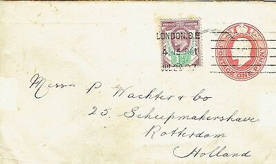 1907 1d PS env uprated with 1½d London to Netherlands