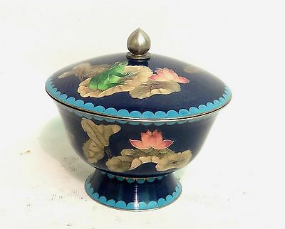 """Quality Art Deco Oriental Cloisonne Pot & Cover """"frog Lily Pads And Butterfly"""""""