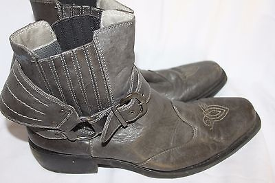 vintage MENS GREY LEATHER ANKLE BOOTS COWBOY BOOTS SZ 8 BY MUSTANG