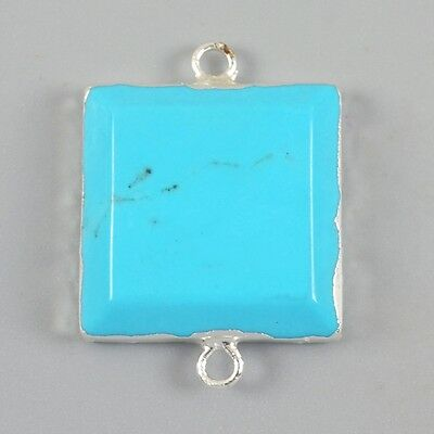 Square Blue Howlite Turquoise Faceted Connector Silver Plated H83077