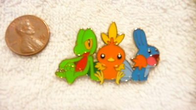 Rare Pokemon Treecko Torchic Mudkip Characters Lapel Pin Free Ship in USA