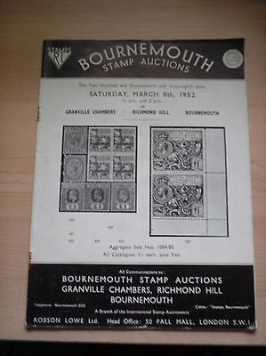 Bournemouth Stamp Auctions Catalogue Dated Saturday 8th March 1952
