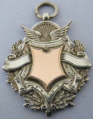 Antique Solid Silver & 9ct Gold Cycling Medal Watch Fob Pendant Bir 1931