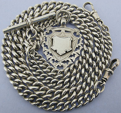 Heavy Antique Solid Silver Double Albert Watch or Neck Chain & Fob 22 inch 97gr