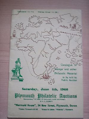 Plymouth Philatelic Auctions Catalogue Dated Saturday 4th June 1960