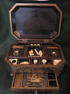 ANTIQUE 19th CENTURY CHINESE LACQUERED WORK BOX c1860 & TOOLS