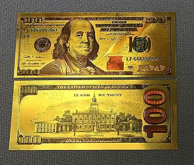 """1pc """"New Style"""" 999 24k Gold Leaf  $100 One Hundred Dollar Banknote W/ Sleeve"""