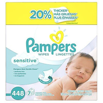 Pampers Sensitive Wipes 7x Box 448 Count New Free Baby Day Clean Natural Skin