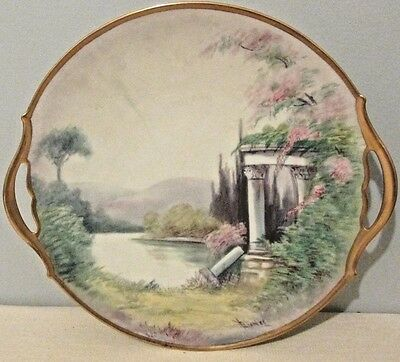 1918 Pickard Vellum Hand Painted Signed F.james Cake Tray, Plate Lake Scene