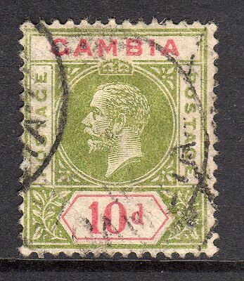 Gambia KGV 1912-22 (Wmk Multi CA) 10d Pale Sage Green & Carmine SG96 Used