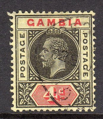 Gambia KGV 1912-22 (Wmk Multi CA) 4d Black & Red/Yellow SG92 Used