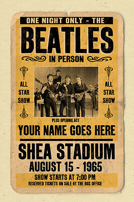 Your name on a Beatles concert poster! personalized
