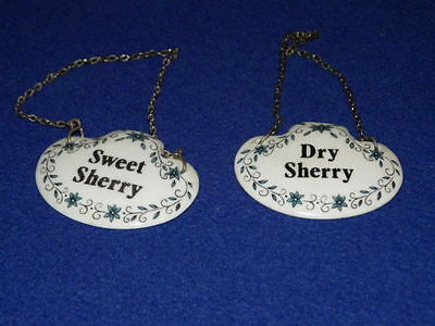 Two Vintage Fine English Bone China Decanter Labels