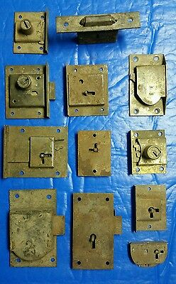12 vintage antique cabinet locks (B)