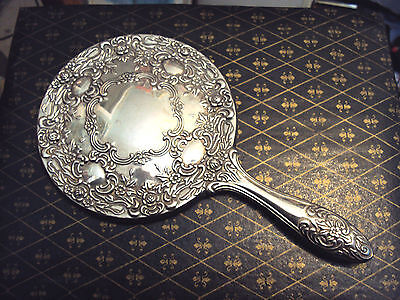 """Lovely Heavy Ornate Vintage Silver Plated Hand Mirror - 9.5"""" Length."""