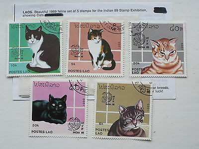 5 Stamps from Laos Showing Cats