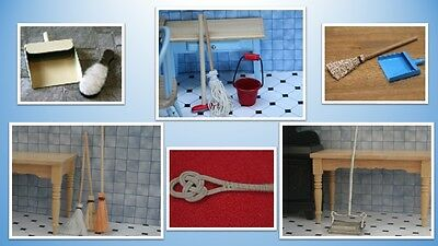 1:12 scale dolls house miniature vintage floor cleaning items 6 to choose from.