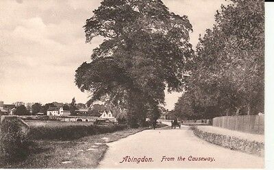 Early ABINGDON from the Causeway - people, horse & buggy, houses, bridge