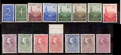 Lot of Netherlands stamps, for the International Court of Justice, 1950-58