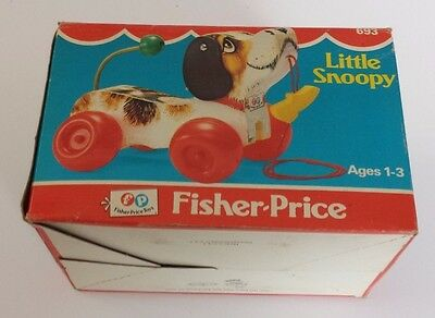 Vintage 1968 #693 Fisher Price Little Snoopy Pull Toy With Original Box
